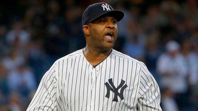 CC Sabathia of the Yankees reacts after the