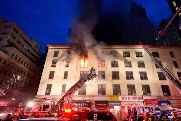 Fire raged in a five-story building in lower