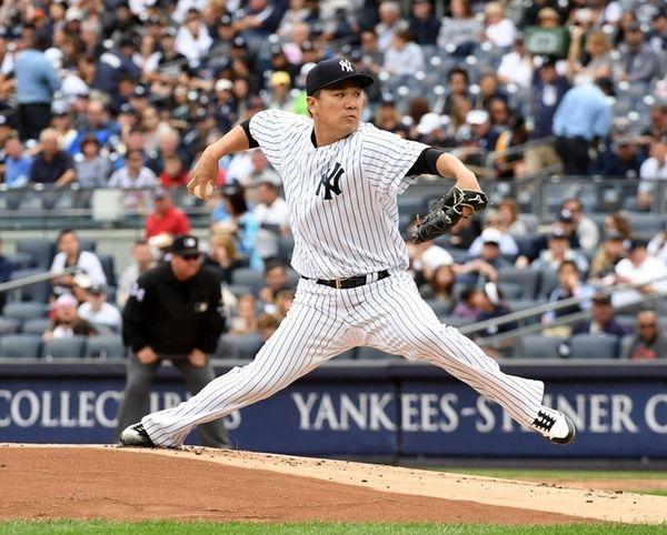 Masahiro Tanaka pitcher for the NY Yankees pitching