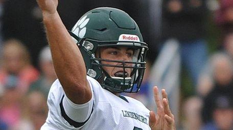 Nick Anzalone, Lindenhurst quarterback, throws a pass during