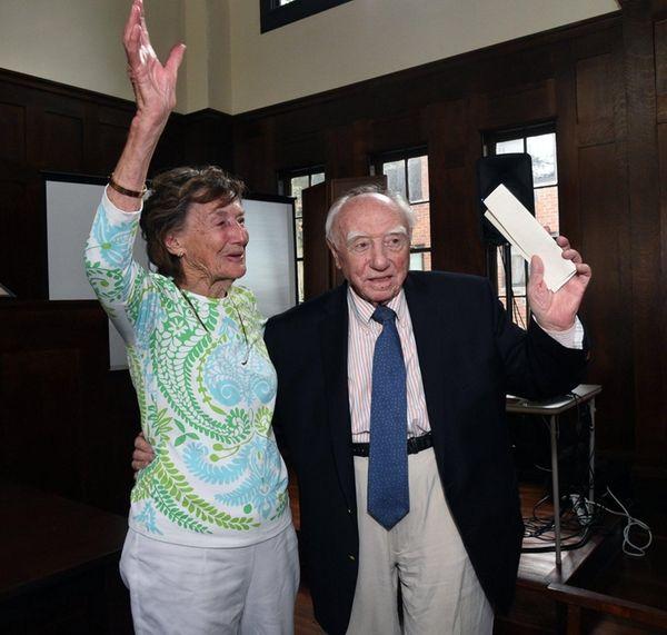 Marguerite and Joseph Suozzi acknowledge those gathered at