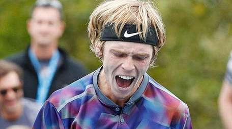 Andrey Rublev reacts as he plays Damir Dzumhur