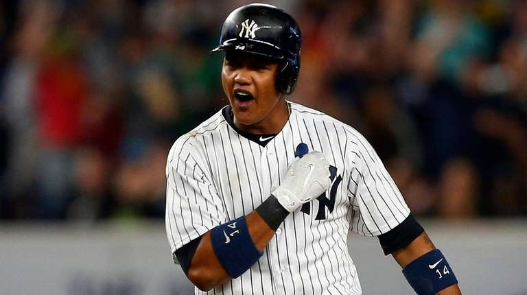 Starlin Castro of theYankees reacts after his sixth-inning