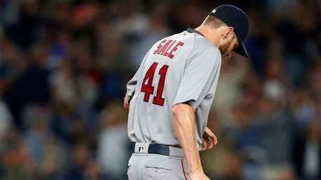 Chris Sale of the Red Sox stands on