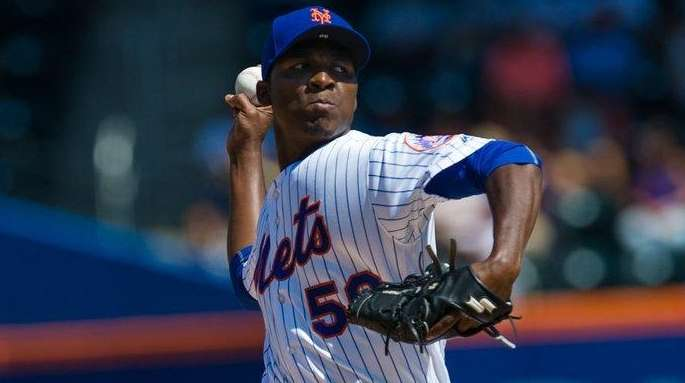 Mets pitcher Rafael Montero throws against the Phillies