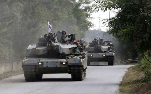 South Korean army's K-1 tanks move during a