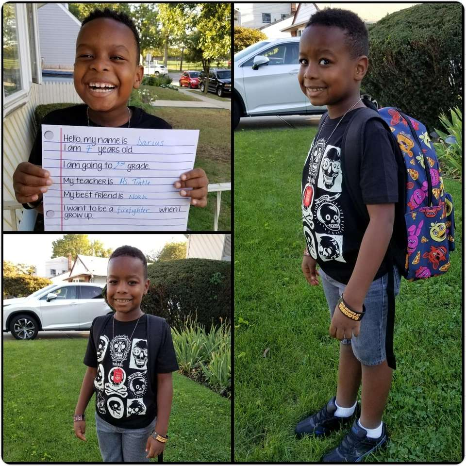 Darius, on his first day of 2nd grade