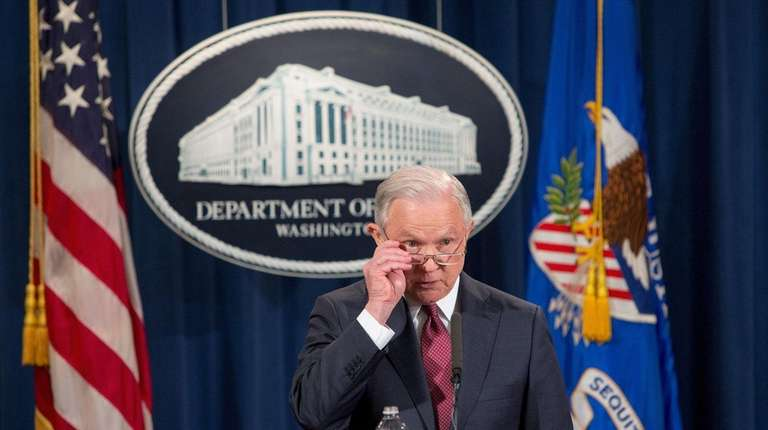 Jeff Sessions at the Department of Justice briefing