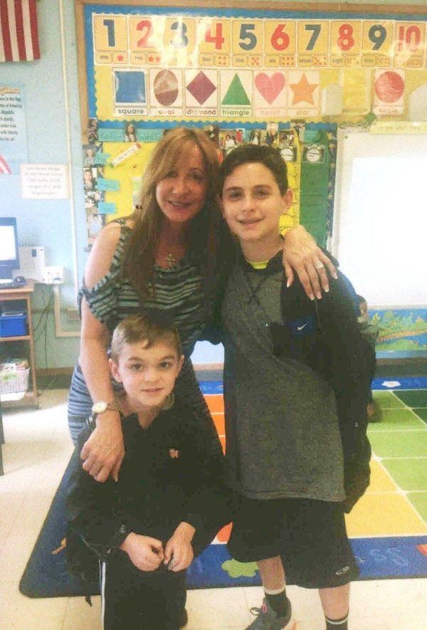 Kidsday reporter Joey Bruno with kindergarten teacher Nancy
