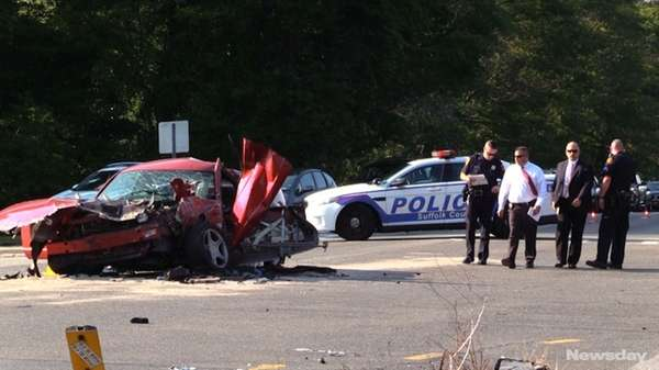 Two vehicles collided near the entrance to Stony