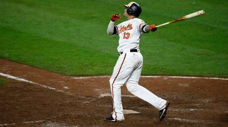 Orioles third baseman Manny Machado watches his walk-off
