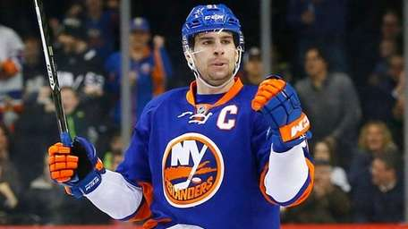 John Tavares of the New York Islanders celebrates his