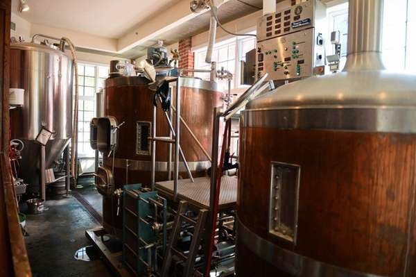 BrickHouse Brewery in Patchogue, its brewing tanks seen