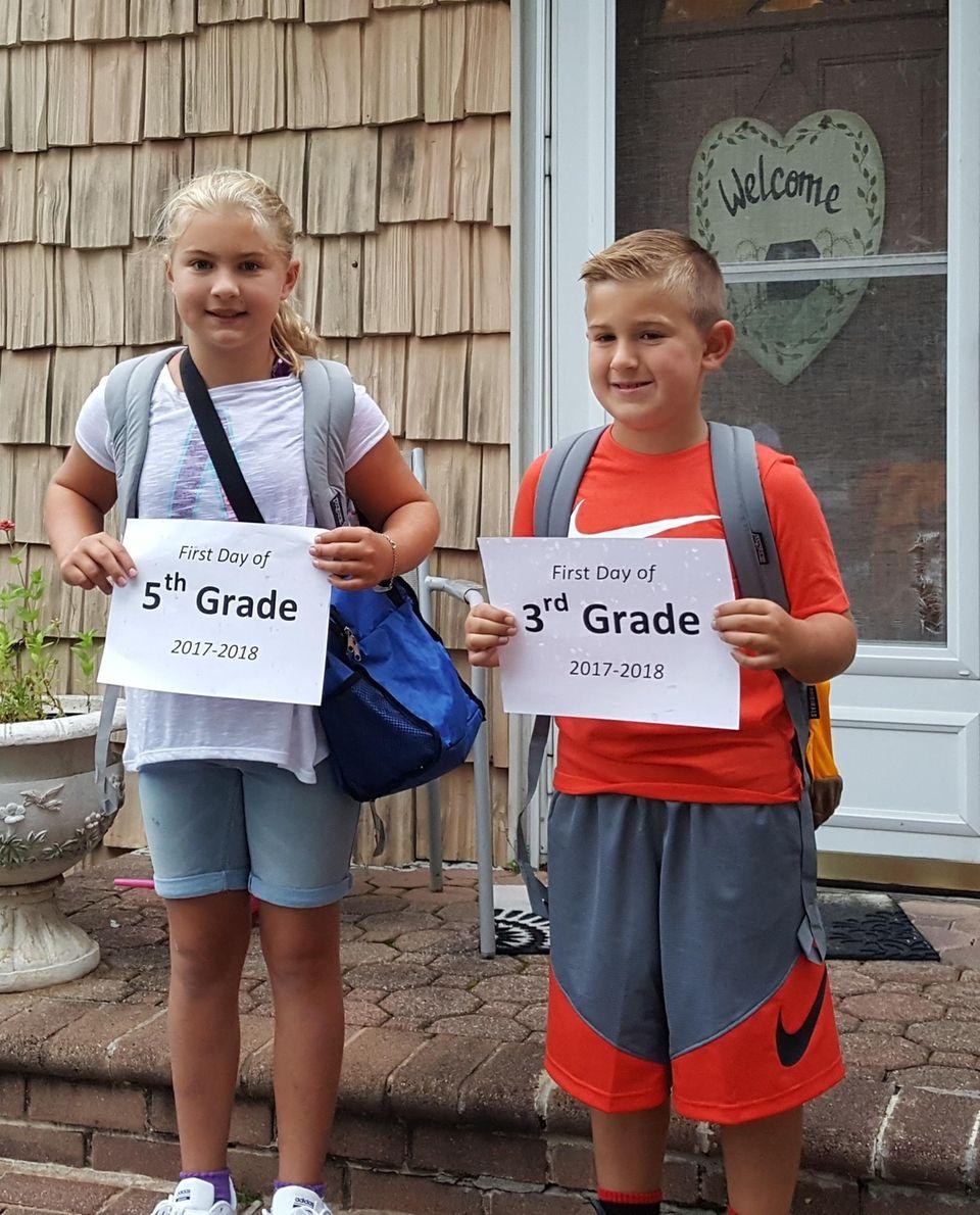 Gabbie & Georgie first day of school