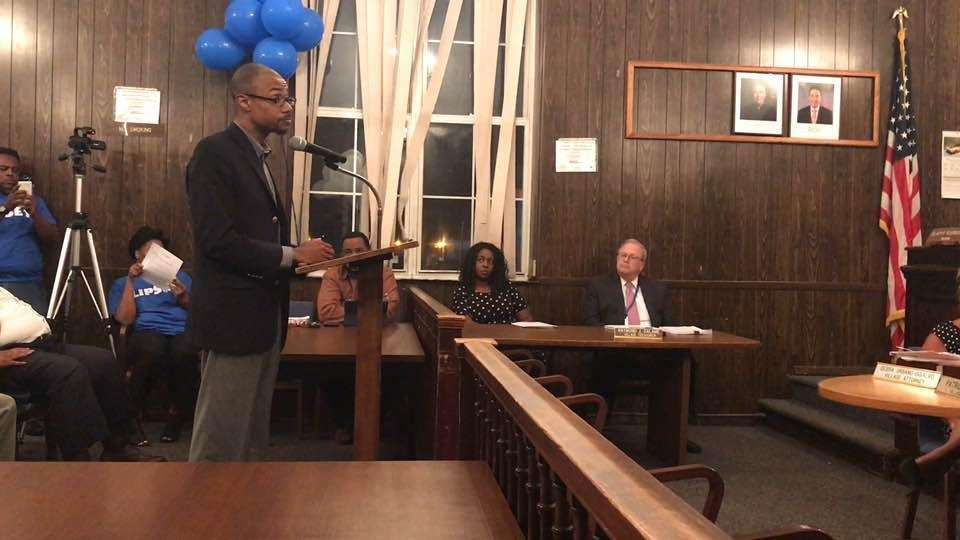 The Hempstead Village board of trustees discusses the