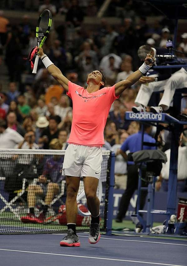 Rafael Nadal reacts to his three-set victory over
