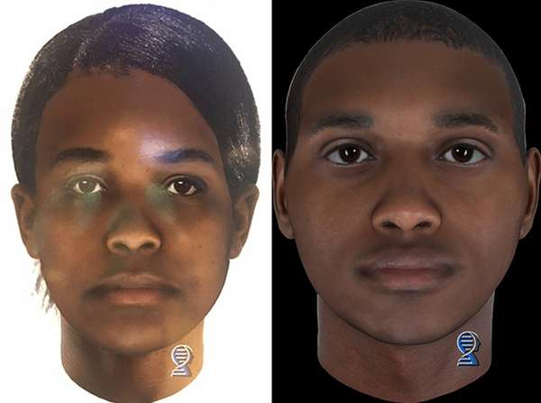 Composites of homicide victims, a female, left, and