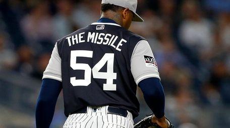 Aroldis Chapman of the New York Yankees stands