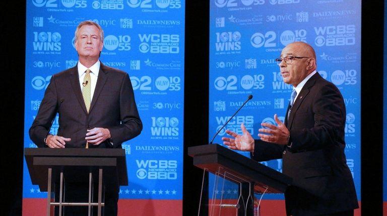 Mayor Bill de Blasio, left, and mayoral candidate