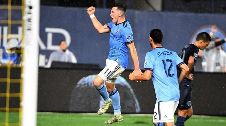 NYCFC's Jack Harrison celebrates after scoring a goal against Sporting
