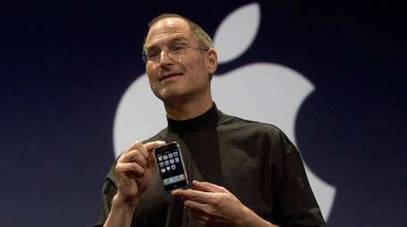 Then-Apple chief executives Steve Jobs introduces iPhone at