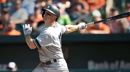 Yankees' Brett Gardner connects for a double against