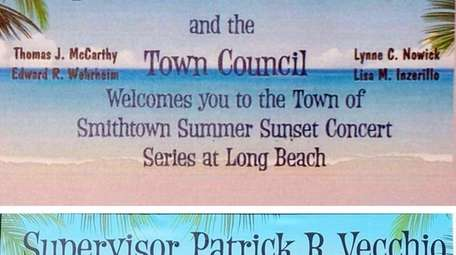 The original sign for Smithtown's concert series, top,