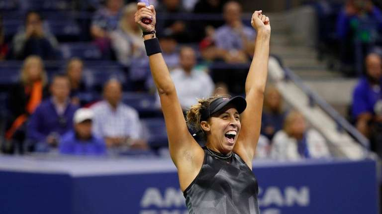 Madison Keys reacts after defeating CoCo Vandeweghduring the