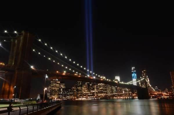 The Tribute in Light lights up lower Manhattan,