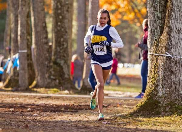 Shoreham-Wading River's Katherine Lee during the state cross