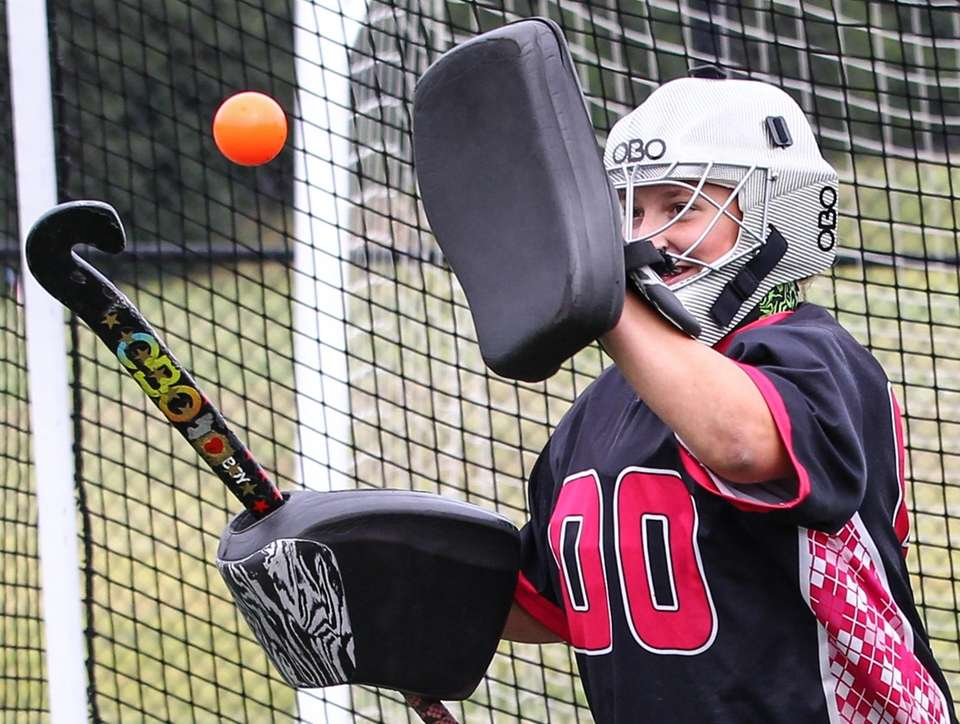 Miller Place field hockey goalie Ally Tarantino tends