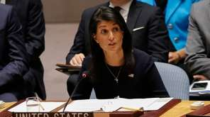 U.S. Ambassador Nikki Haley speaks last week during