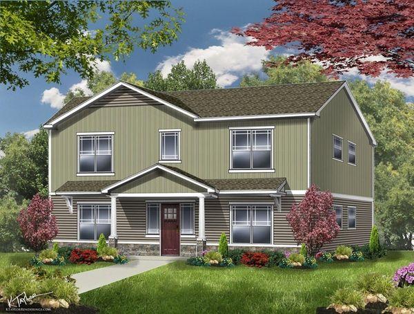 A rendering of one of 10 buildings as