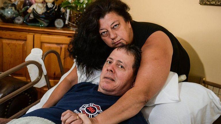 Tina Tilearcio, of Massapequa Park, at the bedside