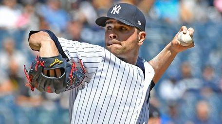 Jaime Garcia pitches against the Indiansat Yankee Stadium