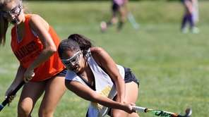 Massapequa's Isabella Ramirez hits ball down the field