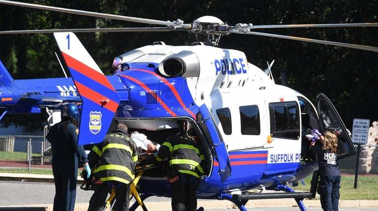 A 40-year-old man was taken by helicopter to