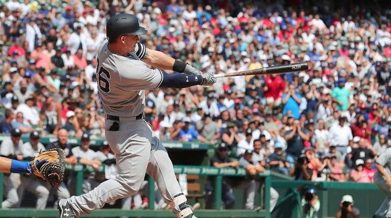Tyler Austin of the New York Yankees hits