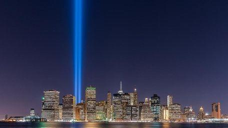 Two blue pillars of light beam where the