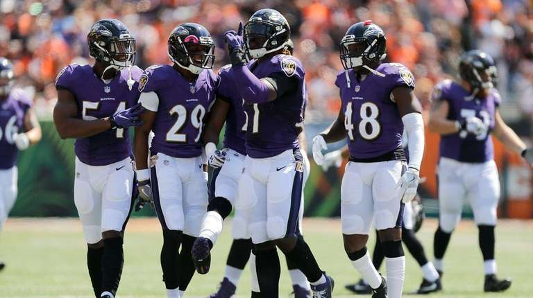 C.J. Mosley of the Baltimore Ravens celebrates after