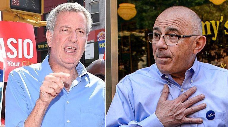 NYC Mayor Bill de Blasio, left, and his