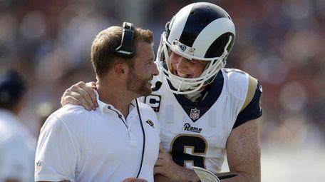 Los Angeles Rams head coach Sean McVay, left,
