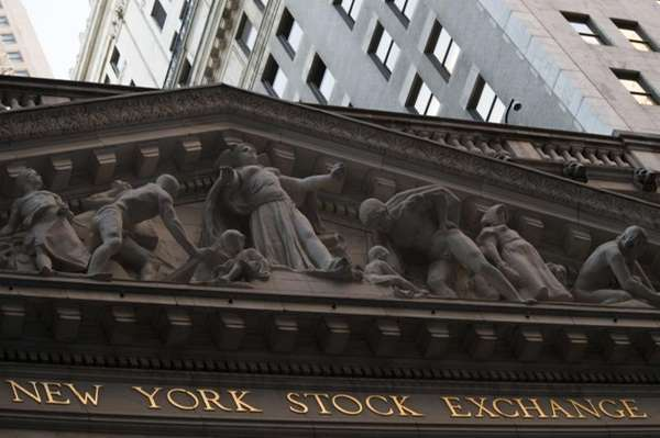 The The New York Stock Exchange at sunset,