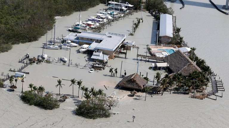 Floodwaters surround Gilbert's Resort after Hurricane Irma on