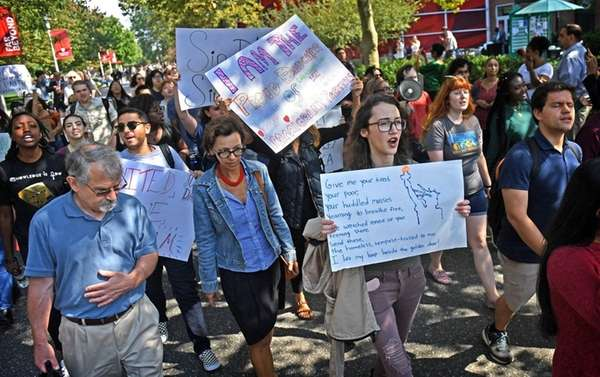 Students and Immigrant advocates march at Stony Brook