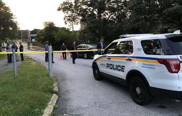 Hempstead police respond to a report of shots