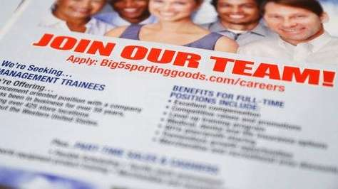 A flyer advertises job openings with Big 5