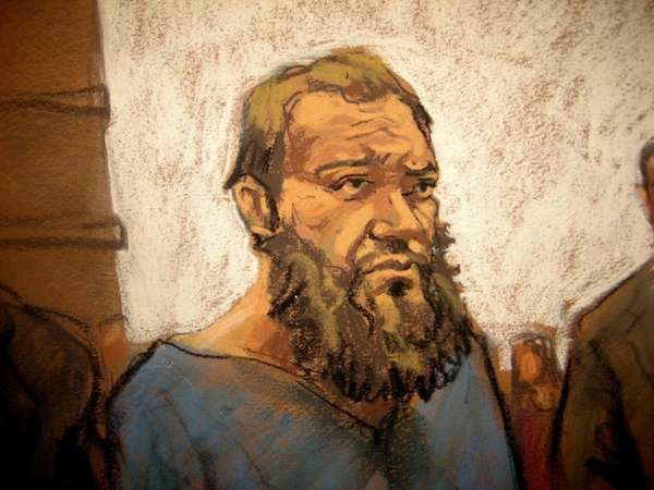 In this courtroom sketch, Muhanad al Farekh makes