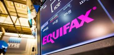 The Equifax Inc. logo on a monitor at