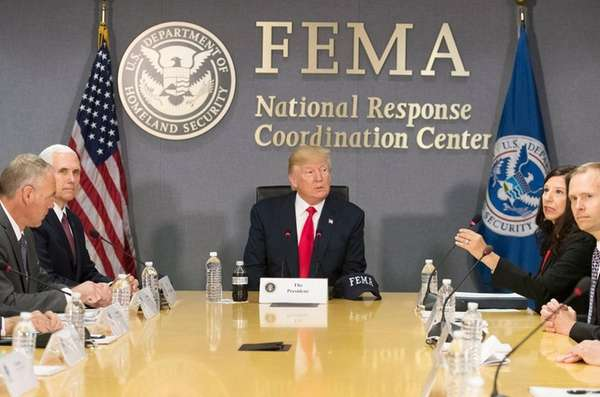 President Donald Trump is briefed on hurricane season